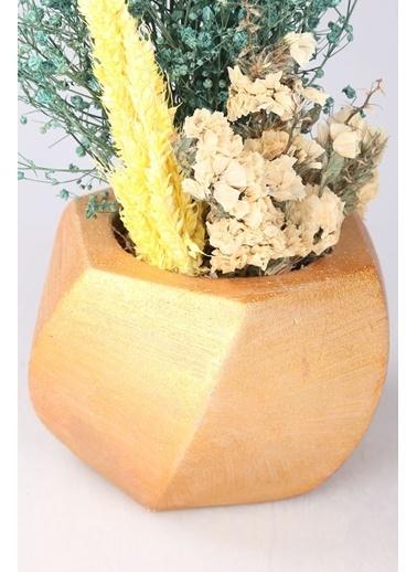 Kibrithane Çiçek Yapay Çiçek  Beton Saksı Kuru Çiçek Aranjman Kc00200747 Renkli